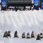 ASPEN, CO - JANUARY 27:  Racers leave the start in the Snowmobile Snocross at Winter X Games Aspen 2013 at Buttermilk Mountain on January 27, 2013 in Aspen, Colorado.  (Photo by Doug Pensinger/Getty Images)